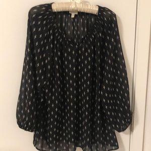 Garnet Hill black and white silk blouse, size L